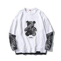 2021 Весна осень тур вокруг шеи мода бренд кешью цветок медведь футболка мужской свободный повседневный с длинным рукавом футболки мужские хлопковые топы пары w100