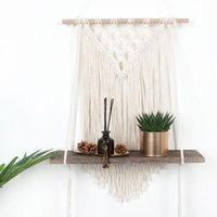 Hooks & Rails Boho Nordic Macrame Cotton Rope Woven Tapestry Plants Display Storage Rack Wall Hanging Wooden Shelf Home Decoration