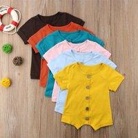 Дизайнер Baby Girls Rompers должен иметь младенческую кнопку Мальчики Боды цельные лук с коротким рукавом твердые малыши боди девочек комбинезон 77 Z2