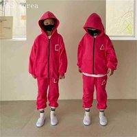 Korean School Children's Tracksuit Zipper Long Sleeve Coat + Pants Two-piece suit Spring Autumn Kids Hooded Jacket For Boys And Girls G10DZJ3