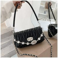 Evening Bags 2021 Weave Flap Bag Women Rhinestone Crossbody Designer Brand's Handbags Messenger Tote Shoudler Clutch Hobo-bag