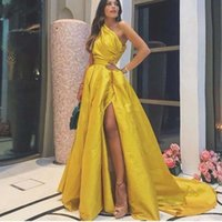 Modern A Line Long Prom Dresses with Ruched One Shoulder Robe De Marrige High Side Split Sexy Party Evening Gowns