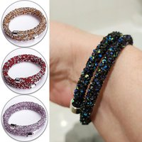 Fashion Women Shiny Frosted Crystal Chain Bracelet Adjustable Two Laps Bracelets For Wedding Party Jewelry Gift Accessories Link,