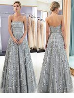 New 100% Real Image Silver Gray Prom Dresses Sequins Tulle Strapless Womens Long Evening Gown Quinceanera Graduation Party Ball Gown CPS1162