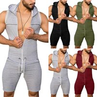 Men's Tracksuits Men Solid Color Jumpsuit One Piece Tight Bodysuit Sleeveless Hooded Playsuit Overall Rompers