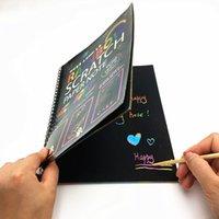 Sihirli Renk Gökkuşağı Kazı Kazan Sanat Kağıt Siyah Not Kitap DIY Çizim Oyuncaklar Boyama Çocuklar Doodle Kırtasiye Eğitici Oyuncaklar Q0313