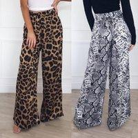 Women Leopard Print 2021 Fashion Palazzo Wide Legs High Waist Flared Trousers Loose Long Pants Casual Autumn Outwear Women's & Capris