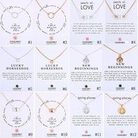 2020 Fahmi Colares Dogared com cartão de presente Círculo Pérolas Horseshoe Compasso Lotus Flor Pingentes de Ouro Cadeia de Prata Moda Jóias
