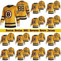 88 David Pastrnak 보스턴 Bruins 2021 Reverse Retro Jersey 37 Patrice Bergeron 63 Brad Marchand 74 Jake Debrusk Hockey Jerseys