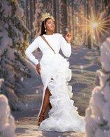 2021 Arabic Aso Ebi Mermaid Evening Dresses Plus Size Long Sleeves Side Slit Ruffles Organza Skirt Formal Prom Gowns
