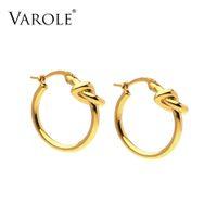 Varole Fashion Knot Hoop Pendientes para mujer Línea sencilla Color de oro Hoops Harings Joyería de moda Kolczyki