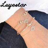Charm Bracelets Women's Four-piece Bracelet Open Leaf Knotted Metal Alloy Girl's Gift Girlfriends Hollow Jewelry