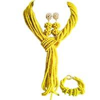 Pendientes Collar Africano étnico opaco de cristal amarillo conjuntos de joyas de boda para mujeres 10C-WJ-09