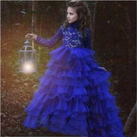 Royal Blue Flower Girls Dresses For Weddings Illusion Lace Appliques Long Sleeves Tiered Ruffles Ball Gown Birthday Children Girl Pageant Gowns