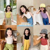 Girls Tank Tops Gilet per bambini estate cotone senza maniche per bambini vestiti per bambini T-shirt 2-7Y B5252