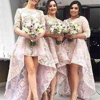 Meia mangas de dama de honra vestidos de alta baixa renda de renda de honra vestido de chão de chão vestido de festa de casamento mais tamanho