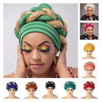 Cappellino turbante africano Ultime Auto Gele Headtie Cappello islamico con pietre lucide Hatscarf per signore Nigerian Hijab Musulmano già realizzato 12pcs / pack