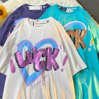 Tasir Tide Brand American Ins Love Breve T-shirt da uomo Design del cuore Design a metà manica