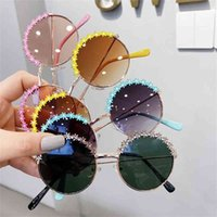 أزياء الصيف زهرة الاطفال جولة نظارات شمسية الألوان لطيف بنين بنات نظارات الشمس في الهواء الطلق السفر الأشعة فوق البنفسجية نظارات واقية H528S8E
