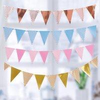 Северная Европа Волновая картина Горячая Золотая вечеринка Поставляет Бумага Вытягивание Флаг треугольника Баннер Флафа