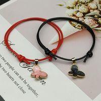 Charm Bracelets 2 Pcs lots Butterfly Bracelet Pink White Black Color Adjustable Couple For Friend Hand Jewelry Wholesale Drop