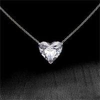 Moda serce 925 srebrny naszyjnik wisiorek dla kobiet biały szafir biżuteria prezent 1414 T2