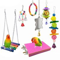 Outros suprimentos de pássaros 7 pcs pendurado espelho fosco plataforma plataforma gaiola hammock papagaio stars set swing brinquedos acessórios