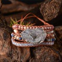 Tennis Natural Stones Charm 5 Strands Wrap Bracelets Handmade Shine Boho Bracelet Women Leather Wholesale Drop
