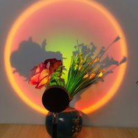 Sunset Projection Lamp LED Night Lighting 360 Degree Flexible Rotation Rainbow Projector Light USB Sunsets Lights Romantic Gift
