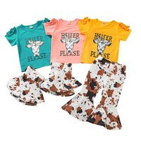Baby Clothing Sets Girls Outfits Kids Clothes Dress Suits Child Summer Cotton Short Sleeve T-shirts Flared Trousers Cow 2Pcs B5640