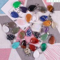 Großhandel zufällige gemischte anhänger flache wassertropfen stein aventurin rose quarz atat blauer sand opal jade perlen für schmuck machen dbv007