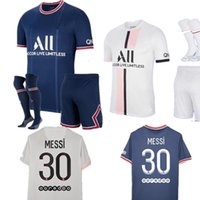 Messi 30 2122Maillots De Futbol Kitleri 20 21 22 Dördüncü Paris Futbol Forması 2021 2022 MBappe Icardi Üniforma Şort Maillot Ayak Par Enfant Erkekler Yetişkin 999