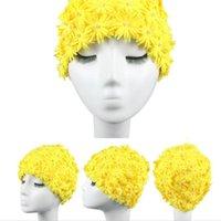 Buona qualità cucita a mano tridimensionale petalo fiore lungo capelli lunghi signori primavera panno di nuoto cappuccio