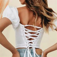 Women's Blouses & Shirts Selling Women Beach Blouse Sexy Bandage Hollow Out Back 2021 Summer Feminine Printed Cotton Vacation Tops Puff Slee