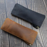 Pencil Bags Handmade Cowhide Pen Bag Durable Genuine Leather Case Writing Materials Stationery Protective Cover Office School Tools