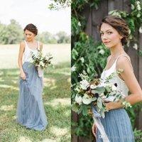 Cheap Grey 2019 Beach Bridesmaid Dresses With Tutu Skirt Spaghetti A -Line Tulle Bohemian Maid Of Honor Party Dress Summer Beach Maxi Dresse