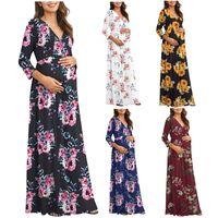 Maternity Dresses Women Dressws Print Pregnancy Casual Clothes Summer Cotton Fashion 3 4 Sleeve V-neck Maxi Wrap Long Loose Dress #63