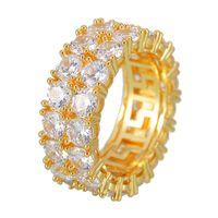 Хип-хоп со льдом кольцо Micro Pave CZ каменное теннисное кольцо мужчины женщины шарм роскошные ювелирные изделия кристалл Zircon алмазное золото посеребренное 1246 B3
