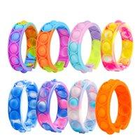 Stock Fidget Bransoletka RERIVE TESTY Zabawki Rainbow Bubble Push IT Antystress Toy Dorosłych Dzieci Sensory, aby złagodzić Autyzm Nadgarstek
