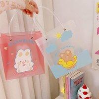 Storage Bags Ins Cartoon Bear PVC Shopping Bag Summer Cute Transparent Jelly Student Women Cosmetic Beach Handbags