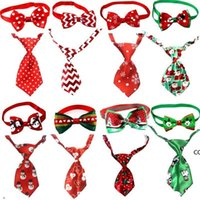 Christmas Pet Dog Neckties New Year Ties Handmade Adjustable Pet Dog Ties Set Festival Neckties Dog Accessories Supplies DHE9289