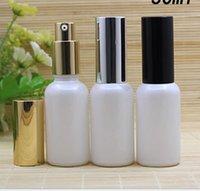 10 20 30 50 ml Inci Beyaz Cam Sprey Şişesi Ince Mist Atomizer Koku Parfüm Örnek Şişe Gümüş Pompa Esansiyel Yağları ile