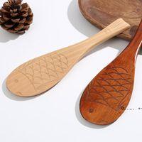 Nanmu en forma de arroz Cuchara de arroz Paddle tallado a mano, regalo creativo, cucharas de madera, utensilio de cocina FWA8572