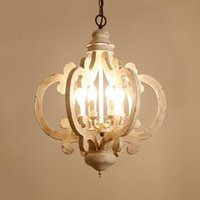 American Country Wood Art Retro White Bedroom Princess Room Restaurant Clothing Store Decoration Candle Pendant Lights Lamps