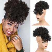 Synthetic Wigs HF Afro Puff Drawstring Ponytail With Bangs Short Kinky Curly Updo Hair Donut Chignon Hairpieces