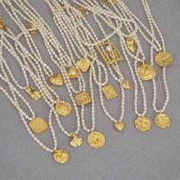 Amaiyllis 18k ouro freshwater pérola clavícula cadeia gravata pingentes handmade gargantilha boho moeda colar para jóias femininas