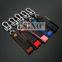 Keychains Fashion Design Creative Car Accessory 3D Metal Zinc Alloy Leather Key Chain Ring