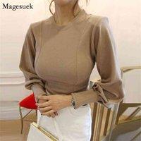 Autumn O-Neck Loose Blouses Women Casual Elegant Vintage Lantern Long Sleeve Shirt Plus Size Ladies Tops Mujer 12190 210430
