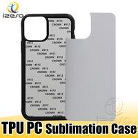 TPU PC Em branco 2D Casos de Sublimação Impressão de telefone com inserções de alumínio para iPhone 12 Pro Max 11 XR 8 Samsung S21 izeso