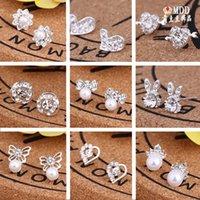 Hot vendendo 45 estilos Brincos coreanos Criativo Super Brilhante Diamante Novo Pérola Brincos Moda Jóias de Alta Qualidade 79 U2